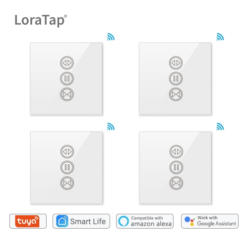 4 Packs Tuya Smart Life WiFi Curtain Switch for Electric Motorized Curtain Blind Roller Shutter, Google Home, Amazon Alexa Voice Control