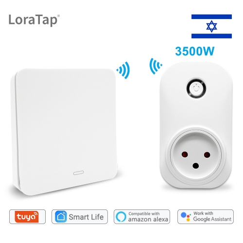 Wifi Socket Tuya Smart Life Israel Plug Voice Control Google Home Alexa Echo Wireless Switch Remote Control No Battery Needed