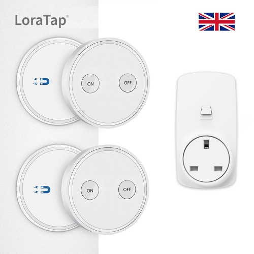 UK Plug Magnetic Wireless Remote Control Socket Kit 16A White (2 remotes + 1 socket)